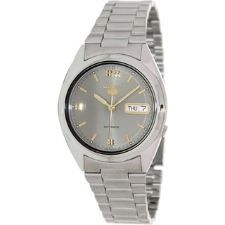 Seiko Men's 5 Automatic Silvertone Stainless Steel Grey Dial Watch