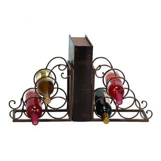 Metal Brown Bookend Wine Holder