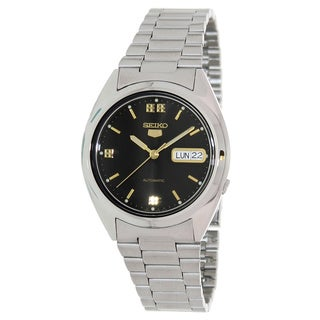 Seiko Men's 5 Automatic Silvertone Stainless Steel Black Dial Watch