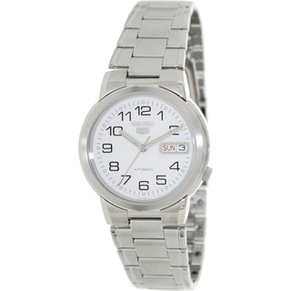 Seiko Men's 5 Automatic Silvertone Stainless Steel White Dial Watch