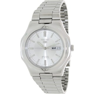 Seiko Men's 5 Automatic Silvertone Stainless Steel Silver Dial Watch