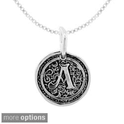 Moise Sterling Silver Round Coin Oxidized Initial Monogrammed Charms Necklace