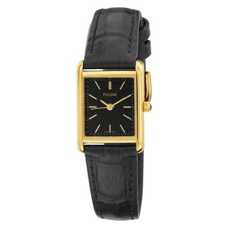 Pulsar Women's 'PTC384' Goldtone Black Leather Watch