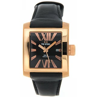 TW Steel Men's 'CE3010' Leather Black Dial Watch