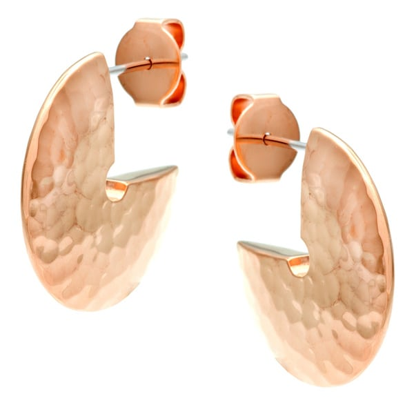 Calvin Klein Rose Gold Steel Hammered Disc Semi-hoop Earrings