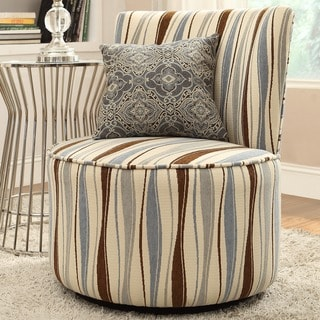 INSPIRE Q Damen Vertical Wavy Stripe Round Swivel Chair