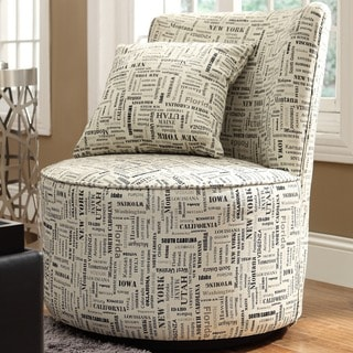 Moda Herringbone Print Modern Round Swivel Chair