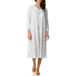 La Cera Women's White/ Blue Floral Night Gown