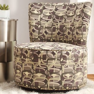 Inspire Q Moda Fun Geometric Print Modern Round Swivel Chair
