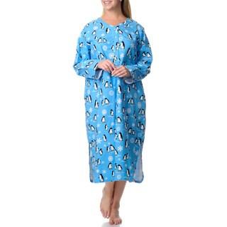 La Cera Women's Plus Penguin Print Henley Sleep Shirt
