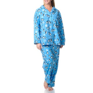La Cera Women's Plus Penguin Print Pajama Set