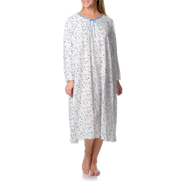 La Cera Women's Plus Pull-over Knit Gown