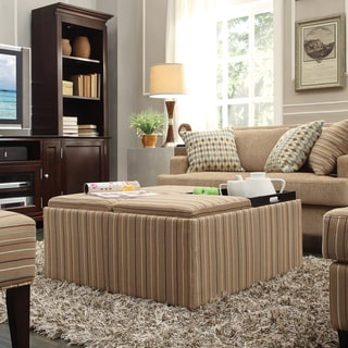 INSPIRE Q Montrose Mocha Brown Stripe Storage Cocktail Ottoman