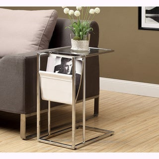White and Chrome Metal Accent Table and Magazine Holder