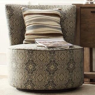 INSPIRE Q Damen Blue Damask Medallion Round Swivel Chair
