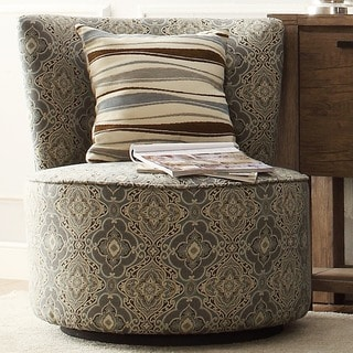 Moda Medallion Floral Print Modern Round Swivel Chair