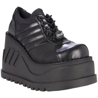 Demonia Women's 'Stomp-08' Black Lace-up Tall Platform Shoes