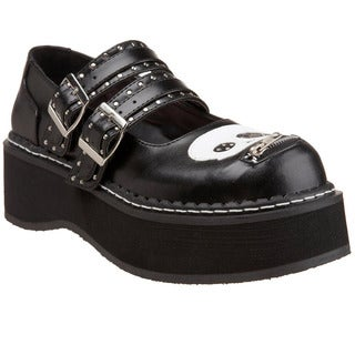 Demonia Women's 'Emily-222' Black Skull Mary Jane Platform Shoes