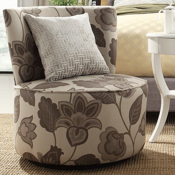 grey floral poppy round swivel chair living room mid century lounge