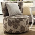 Moda Floral Poppy Print Modern Round Swivel Chair