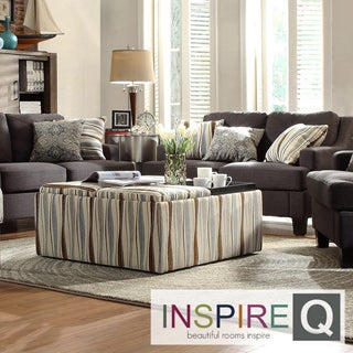 INSPIRE Q Montrose Vertical Wavy Stripe Storage Cocktail Ottoman