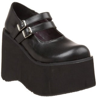 Demonia Women's 'Kera-08' Black Double Strap Platform Shoes