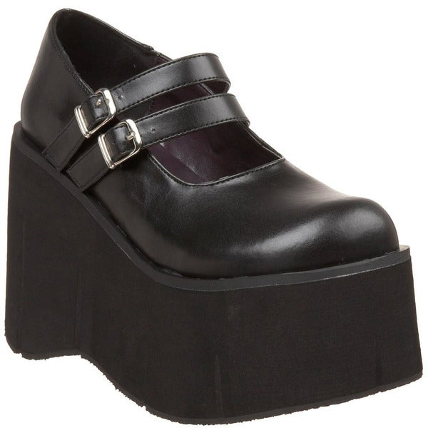 Demonia Women's 'Kera-08' Black Double Strap Platform Shoes
