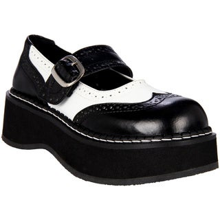 Demonia Women's 'Emily-302' Black and White Mary Jane Platform Shoes