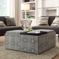 INSPIRE Q Montrose Blue Damask Storage Cocktail Ottoman