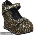 Demonia Women's 'Bravo-10G' Animal Print Tall Wedge Mary Janes