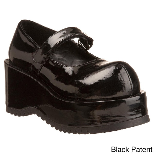 Demonia Women's 'Dolly-01' Black Tall Platform Wedge Shoes