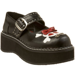 Demonia Women's 'Emily-221' Black Skull Mary Jane Platform Shoes