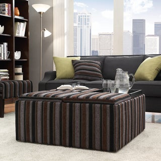 INSPIRE Q Montrose Dark Tonal Stripe Storage Cocktail Ottoman