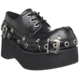 Demonia Women's 'Dank-151' Black Bondage Strap Lace-up Shoes