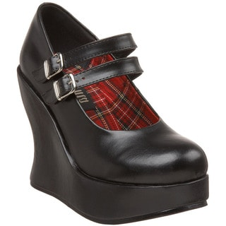 Demonia Women's 'Bravo-08' Black Tall Mary Jane Wedges