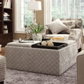 Inspire Q Avenue Grey Bracket Chain Tray Top Storage Cocktail Ottoman
