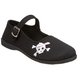 Demonia Women's 'Sassie-02' Black Skull Embroidered Flats