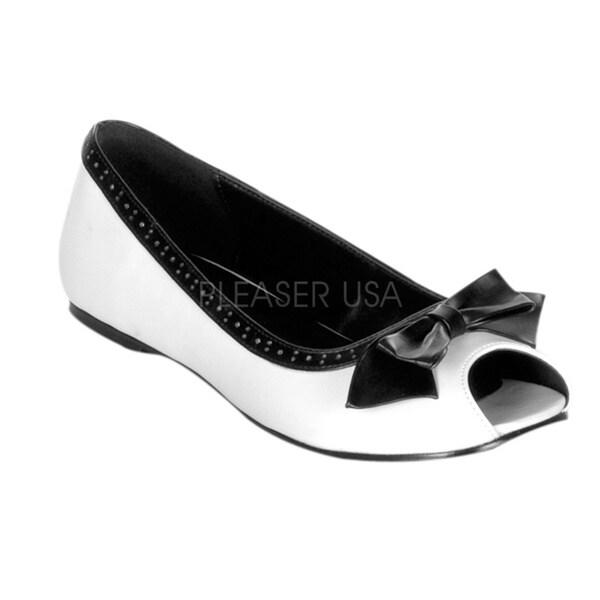 Demonia Women's 'Daisy-64' Black/ White Open Toe Flats
