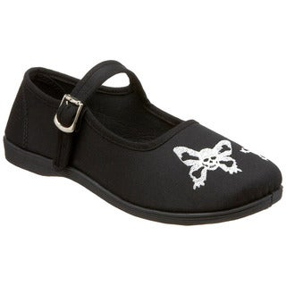 Demonia Women's 'Sassie-17' Black Skull Butterfly Embroidered Flats
