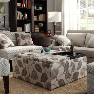 INSPIRE Q Montrose Grey Floral Storage Cocktail Ottoman