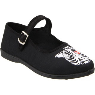 Demonia Women's 'Sassie-11' Black Ribcage Embroidered Flats