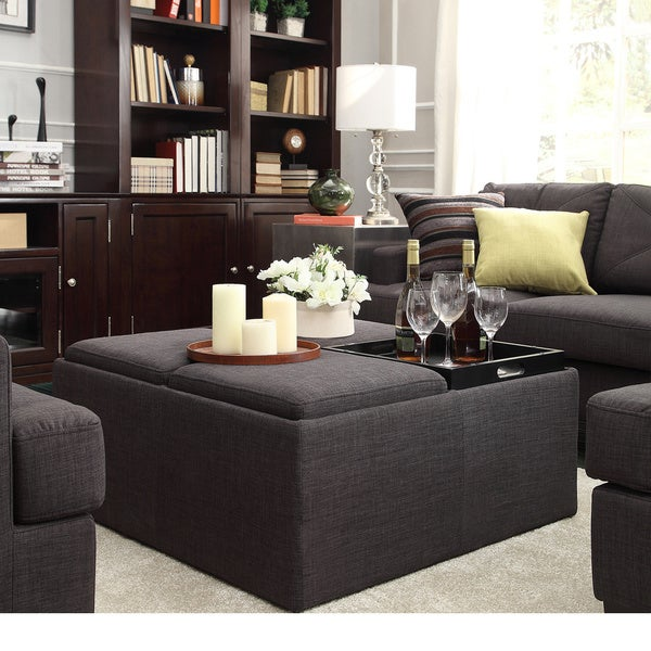 Montrose Coffee Table INSPIRE Q Montrose Dark Storage Cocktail Ottoman (As Is Item)