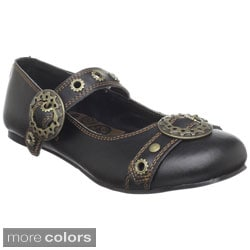 Demonia Women's 'Daisy-09' Black Steampunk Flats