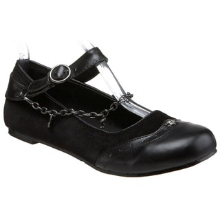 Demonia Women's 'Daisy-07' Black Wing Tip Chained Flats