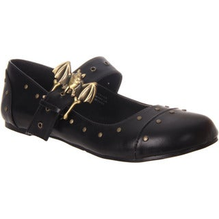 Demonia Women's Daisy-02 Black Bat Buckle Mary Jane Flats