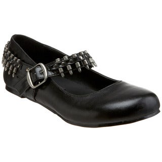 Demonia Women's 'Daisy-06' Black Bullet Strap Mary Jane Flats