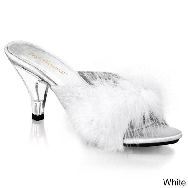 Pleaser Women's 'BELLE-301F' Heel Fur Slip-on Shoes