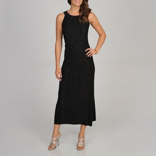 R & M Richards Women's Glitter Knit Panel Maxi Dress