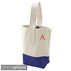 Personalized Navy Color Dipped Canvas Wine Tote