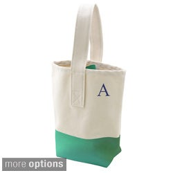 Green Color Dipped Canvas Wine Tote